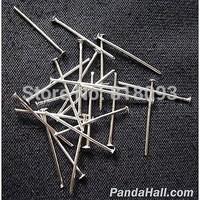 Iron Headpins,  Platinum Color,  Size: about 0.7mm thick,  3.5cm long,  about 3500pcs/500g