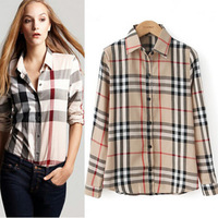 2014 New Spring Fashion Lattice Blouse Europe Stripe Plaid Printed Top Lady Vintage Design Long Sleeve Slim Women Shirt S~XXL