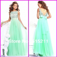 Best Selling 2013 New Arrival High Collar Open Back Mint Chiffon Special Occasion Dress For Prom Party Evening