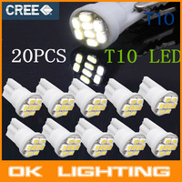 20PCS Ultra Bright White 8SMD LED 3020 T10 W5W Wedge Side Car Light Bulb Lamp
