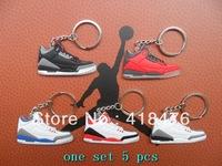 Free Shipping!5 colors Popular AJ III Shoe Keychain Basketball shoes keychain,Sneaker Key Ring,min order 5 pcs