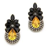 mini black flower  rhinestone crystal stud earring  2013 jewelry E049