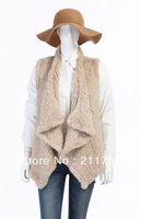 Free shipping 2013 Fashion Retail/wholesale/OEM Gilet/waistcoat New Natural Woman Knitted Rabbit Fur Gilet Rabbit Fur Vest