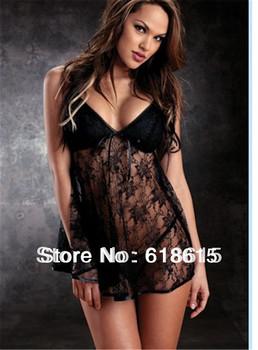 Drop shipping Hot Sale Plus Size XXL 6334 Sexy Women's Babydoll Black Lace Ladies Lingerie Sets Nightwear Wholesale