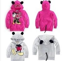 Retail 2013 New Coat Baby Boy Girl Sweatshirt Mickey Minnie Mouse Cartoon Cotton Long Sleeve Hoodies Fit 2-6yrs Free Shipping