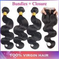 "Modern Show Brazilian Virgin Hair Body Wave 3pcs Hair Bundle with 1pcs free Lace Closures 1b# 10-28"" Cheap Brazilian Body Wave"