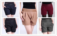 Mid Waist Straight Women's Shorts Women 2014 Fashion, Patchwork With PU Fitness Slim Shortts Bootcuts For Casual/Work