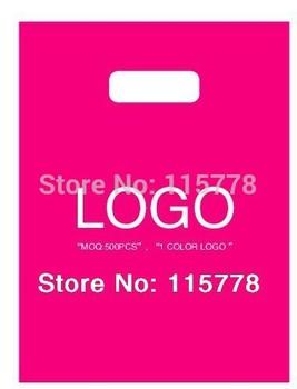500pcs 25*35cm(9.8' *13.8') custom logo bags  / rose red bags with free logo. /500pcs bags print logo bags