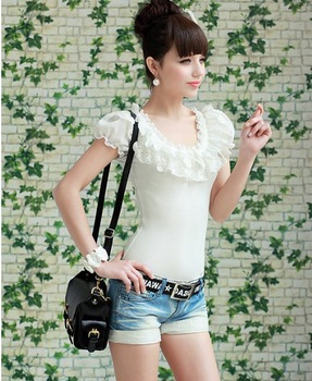 Tshirt New Fashion 2013 Milk White Lace Chiffon Short-Sleeved T-Shirt White Ruffle Shirt Short Sleeve Sexy Tops For Summer