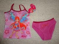 Free shipping retail winx club cotton underwear set children girls strap vest triangle panties basic set baby girls clothing