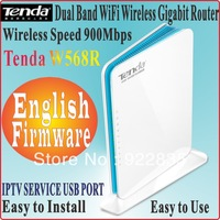English Firmware Tenda W568R Wireless N900 Concurrent Dual band 2.4GHz/5GHz Gigabit Router 900Mbps Wireless Router USB Port IPTV