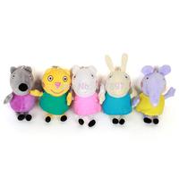 New Cute Peppa Friends Doll Peppa And Friends Stuffed Plush Toys Dog Cat Sheep Rabbit Elephant 5PCS/SET Peppa Pig Friends Set