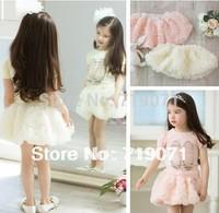Skirts Seconds Kill Lace Floral Cotton Fantasia Infantil 2014 Summer Top Grade Kid's Girls Princess Three-dimensional Rose Skirt
