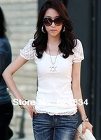 New 2014 Hot Summer t shirt Women's Slim Cotton+Lace Short-Sleeved t-shirts , Black / White / Grey ,Casual tshirt XS-XXL