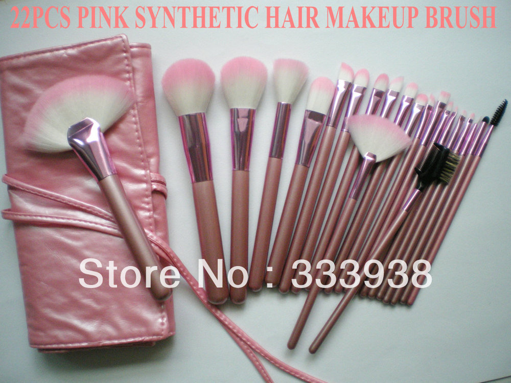 NEW SHOP 50% OFF 22pcs Pink Synthetic Hair Makeup Brushes Set Professional Cosmetic Brushes Set with Lovely Pu Makeup Bag(China (Mainland))