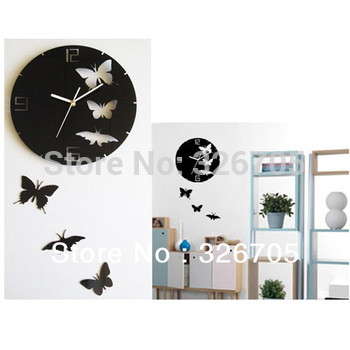 Free shipping Butterfly Wall Clock Design Art Modern Butterfly Clock for home 3D DIY Clock Creative Silent Clock Christmas Gift
