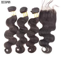 6A unprocessed Brazilian Virgin Hair Body Wave Human Hair Bundles With Lace Closure 4pcs lot Natural Black Color 1b# TD HAIR