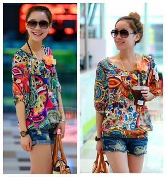 new fashion spring summer autumn short sleeve plus size vintage print casual blusas femininas 2014 a t shirt  women t-shirt