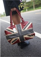 Fashion Bling Rivets Designer Handbags Free Shipping PU(Faux) Leather UK Flag Handbags Women Brand Punk Style Shoulder Bags