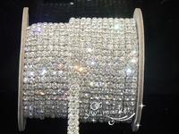 free shipping  Fancy Dress Crystal 2-row clear 4mm  close chain silver Cake Ribbon  Rhinestone trims  1 yard sewing accessories
