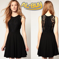 New Arrival 2013 Sleeveless Knee-length Black Solid Color Slim Fitting Women's Lace Dress summer Fashion Clothing Al-Buy #3143