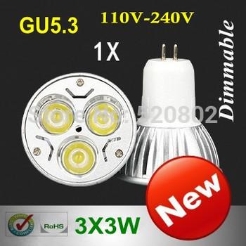 5X High Power GU5.3  GU10  MR16  E27 E14  B22 3X3W 9W LED Light LED bulb LED lamp 110-240V (110V 220V) free shipping
