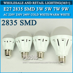 5PCS/lot LED Bulbs High brightness E27 3W 5W 7W 2835SMD AC220V 230V 240V Cold white/warm white Free shipping(China (Mainland))