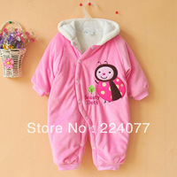 Newborn winter one piece cotton-padded jacket baby velvet thickening cotton-padded one piece wadded jacket bodysuits