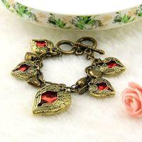 6pcs/lot Wholesale Angel Heart Gem Charms Bracelet Female Bling Vintage Jewelry Statement Bracelet Bijouterie China Out of Print