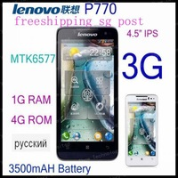 free shipping cn/sg post original Lenovo P770 phone 4.5 inch IPS MTK6577 android 4.1 4GB ROM 1GB RAM 3500mAH mulit 52 language