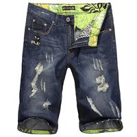 2013 Male summer denim shorts hole trend knee-length men's capris pants slim straight free shipping MT011