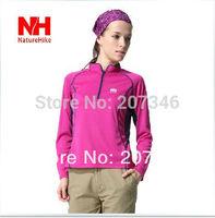 New Outdoor Women Mandarin Collar Quick Dry Long Sleeves Breathable Zipper T-Shirt Soft Hiking Running T Shirts Autumn Summer NH