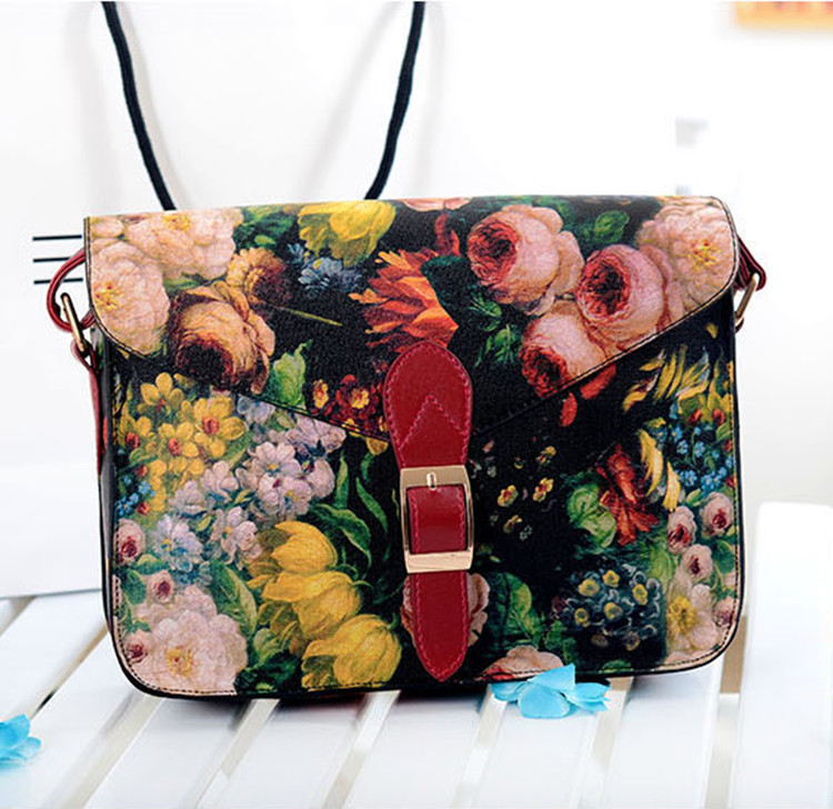 Oil Painting Vintage Flower Messenger Bags Chain Bags High Qualit Women PU Leather Black And Red 2013(China (Mainland))