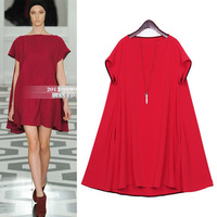 Victoria Beckham Plus Size XXXL XXXXL 5XL Woman Dress Elastic cotton + silk Short sleeve Dresses for women 2013 Spring New Free