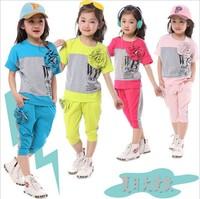 Hot Sale New kids summer clothing set colorblock flowers girl fashion set  t shirt+pants 2pc child sports suit summer baby set