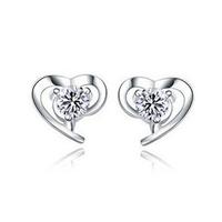 Fashion Cubic Zircon Diamond 925 Sterling Silver Stud Earrings Lady's Anti-allergic Heart  Earrings Free Shipping (SE119)