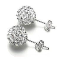 Shiny White CZ Diamond Ball 925 Sterling Silver Stud Earrings Lady's Anti-allergic Earrings Free Shipping (SE129)