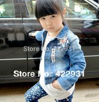 Free Shipping retail children outerwear jacket ,Euro brand designer coats for children,baby girl denim jacket