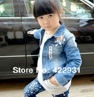 Free Shipping retail children jeans coat,Spain famous brand clothing for kids,girl denim outwear for spring&summer