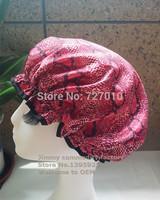 Satin +EVA waterproof Double layer sexy snakeskin  shower cap Bathroom ware four color Custom-made Wholesale
