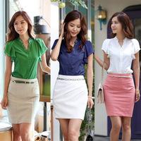 CC337# 2014 Casual Tops Shirt Women V-neck Lotus Sleeve Chiffon Blouses Shirt Size M/L/XL/XXL
