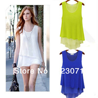 NEW ARRIVAL! 2013 POPULAR STYLE CANDY COLORS O-NECK WITH SLEEVELESS CHIFFON BLOUSE LADY CASUAL PLUS SIZE SHIRT 3-COLORS