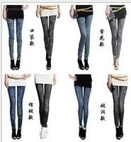 Free shipping  new 2013 autumn -summer Snow fake pocket folds high elastic Denim leggings seamless leggings