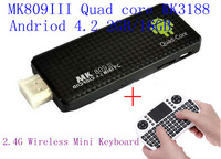 Free shipping mini PC Andriod 4.2 tv box Quad core RK3188 2GB/8GB +2.4G Wireless Mini Keyboard with Touchpad