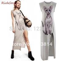 Women Cotton Long Casual Autumn Winter Dresses Fashion Cat Printed Sleeveless Elastic Waist Asymmetrical Vestido Curtos D117
