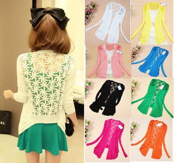 New Flower Sweet Candy Women Crochet Knit Blouse Top Coat Sweater Cardigan Shirt Long Sleeve