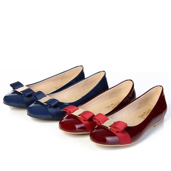 hot sell brand new shoes patent leahter fashion flats seven colors with bowtie elegant design sweet gift for lady free shipping