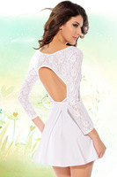 White long sleeve Sexy heart back lace skater Dress LC2840 winter spring new hot casual 2014 mini women party club vestidos
