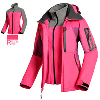 Outdoor Winter women's Fleece softshell 2in1 Climbing hiking Sport Outerwear Waterproof Windproof Ski coats Jackets for female