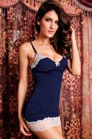 sexy erotic Lace-trim Slip Blue Black Cheap Pajamas for Women Sexy Lingerie Babydoll Night Sleepwear langerie Free Shipping 2707